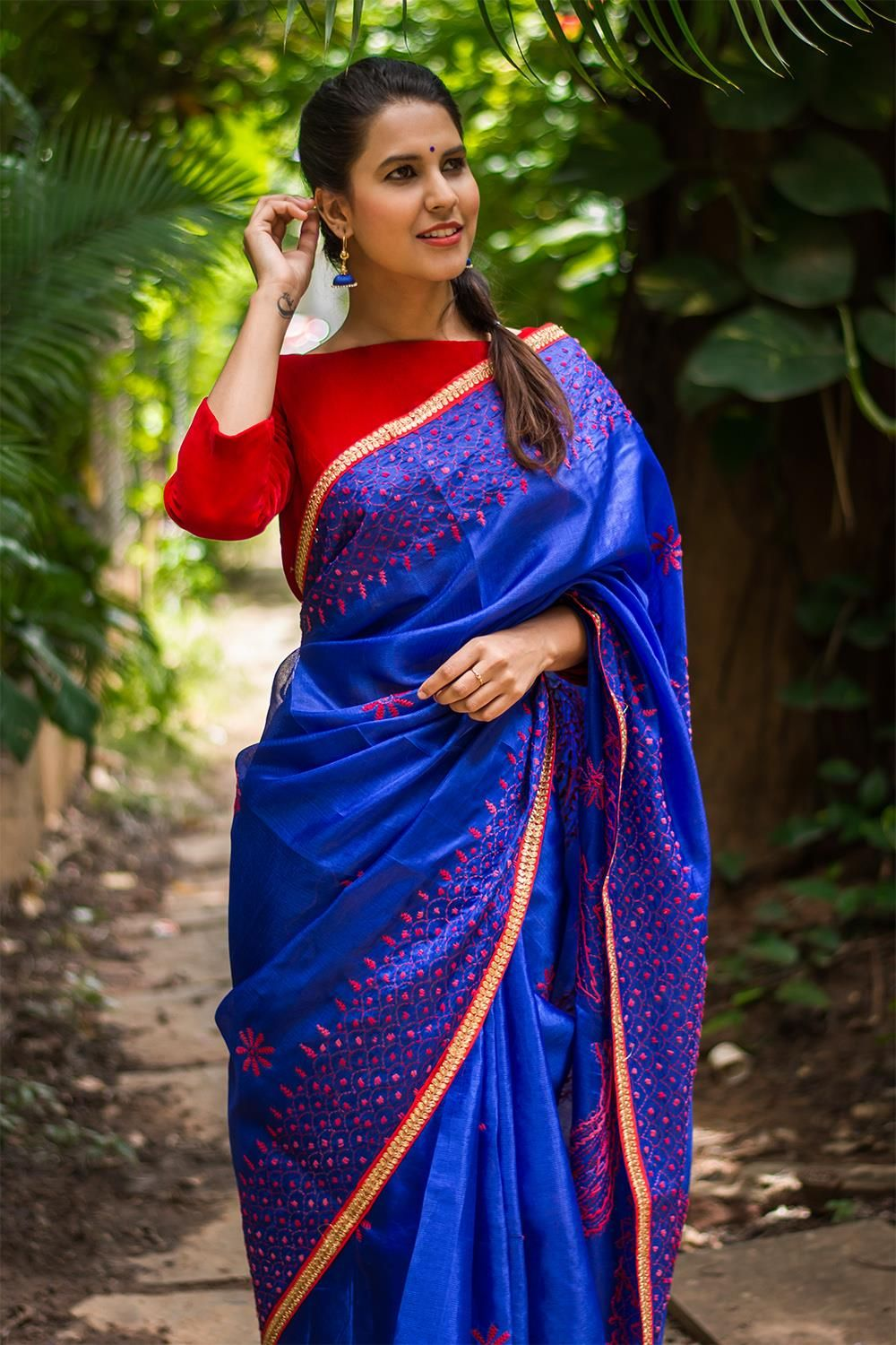 5bd3ccfce8a173 Royal blue tussar saree with red and pink Kantha work + red sequin border