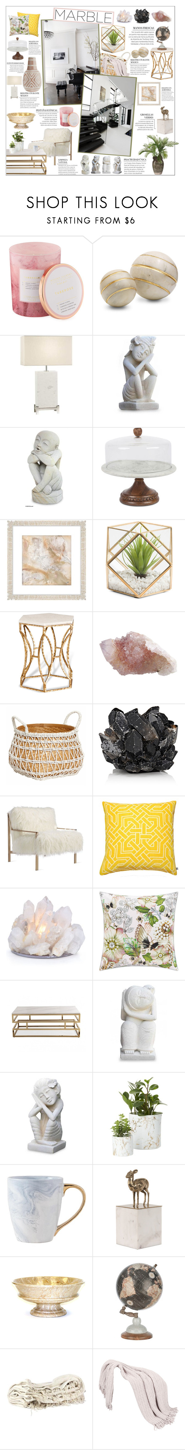 """Marble"" by honey-beans-xo ❤ liked on Polyvore featuring interior, interiors, interior design, home, home decor, interior decorating, D.L. & Co., Fine Art Lamps, NOVICA and GG Collection"