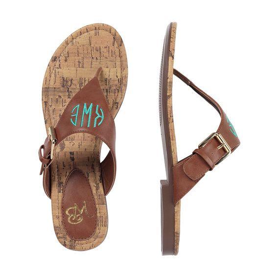 cda7aafcba6b0 Monogram Sandals - Brown Initial Sandals - Women's Sandals - Spring ...
