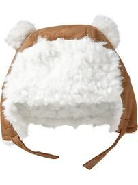 Sherpa-Lined Trapper Hats for Baby