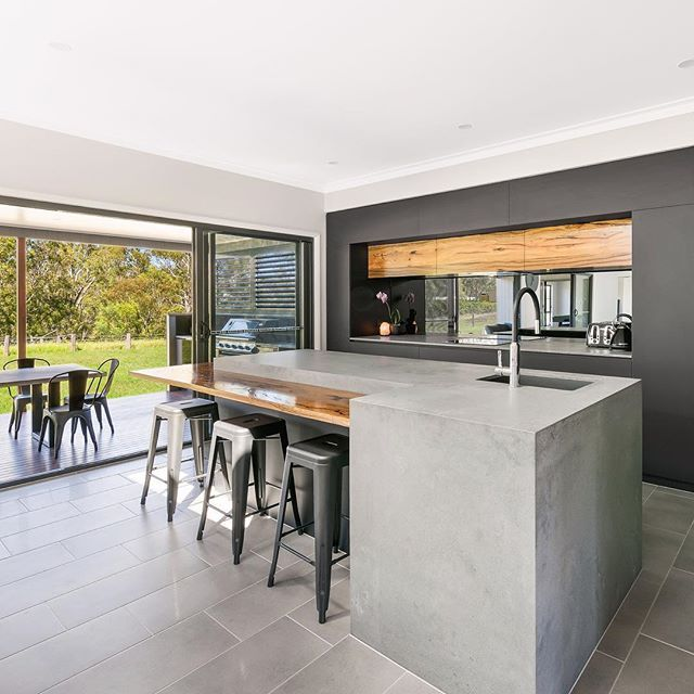 Best Weston Kitchens Clever Use Of Caesarstone Rugged Concrete 640 x 480