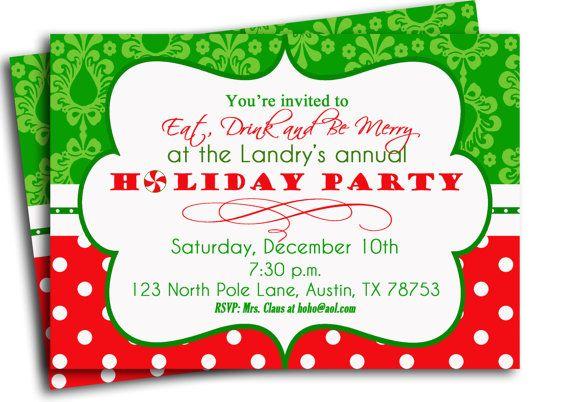 Christmas Party Invitation Printable Traditional Holiday Etsy Christmas Party Invitations Printable Christmas Party Invitation Template Party Invite Template