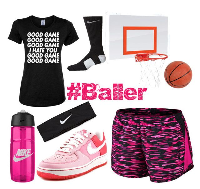 """""""Basketballer"""" by audjshaw ❤ liked on Polyvore featuring NIKE, women's clothing, women's fashion, women, female, woman, misses and juniors"""