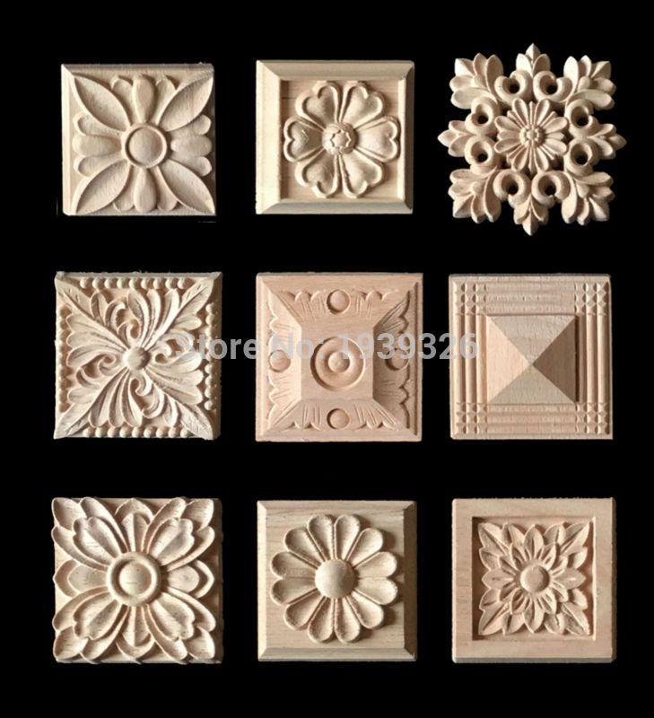 Comprar apliques 5 unids talla de madera marco de madera para puertas de muebles - Comprar apliques ...