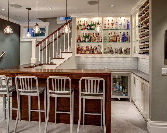 Great Liquor Bottle Shelves Combined With Glossy Bar And White Stools:  Icredible Liquor Bottle Shelves