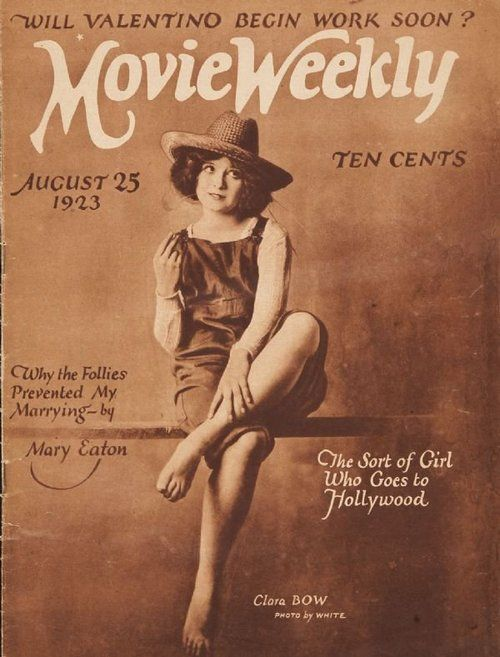 Clara Bow on the cover of Movie Weekly, 1923.