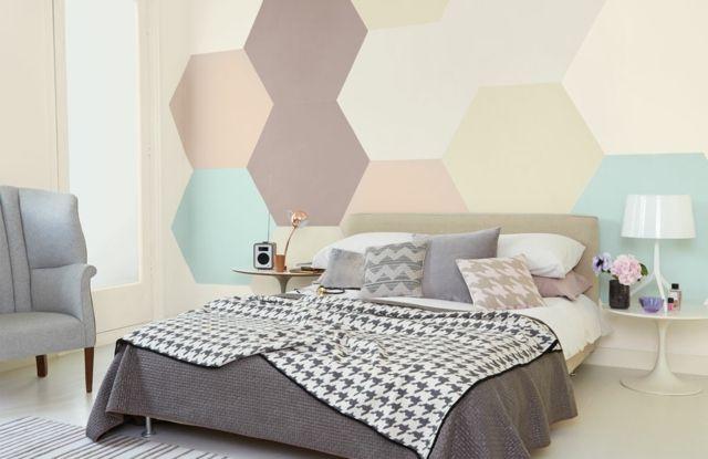 Schlafzimmer Wandgestaltung ~ Schlafzimmer wandgestaltung ideen große achteck figuren walls
