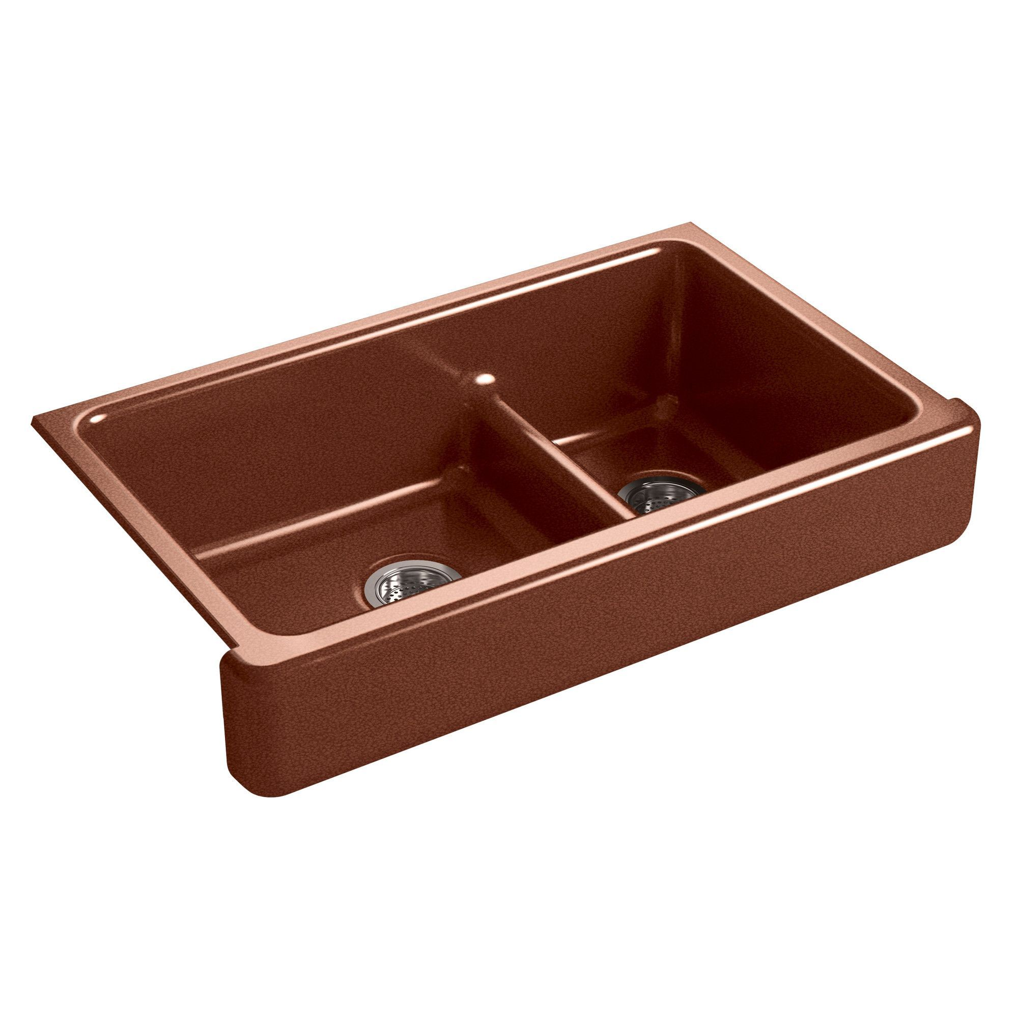 "Whitehaven Self-Trimming Smart Divide 35-1/2"" x 21-9/16"" x 9-5/8"" Under-Mount Large/Medium Double-Bowl Kitchen Sink with Short Apron"