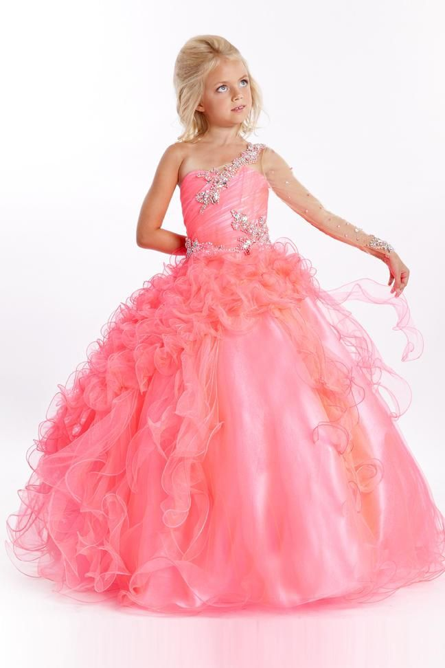 2016 Little Girls Pageant Dresses Pink Tulle One Shoulder Illusion ...