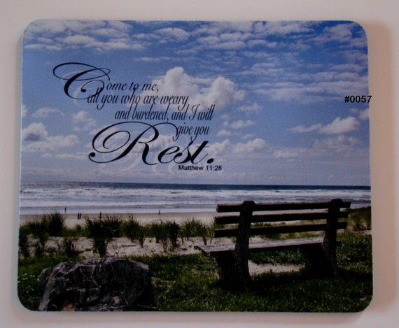 Mouse Pad  Come to ME all you WHO are WEARY   Beach by GmaDesigns, $9.99