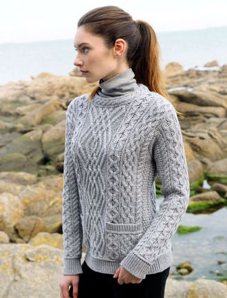 Cable Crew Neck Sweater with Pockets - Grey | вязание АРАНЫ ...