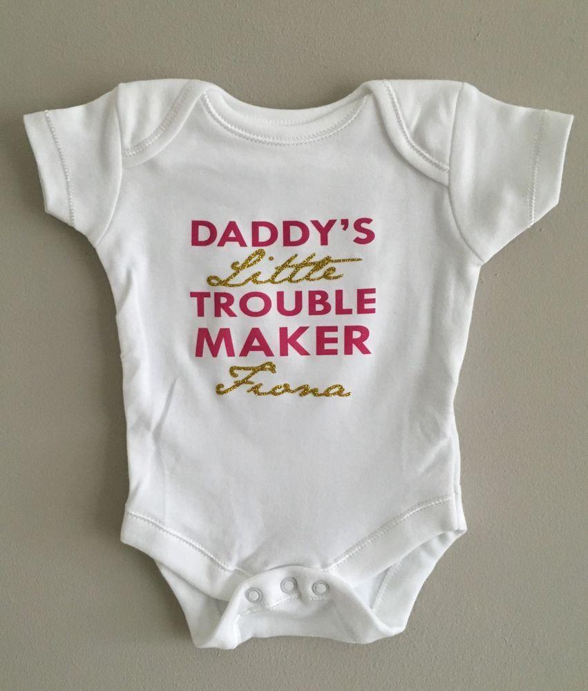 9e6250698 PERSONALISED baby girl GOLD GLITTER slogan clothing babygrow vest babyshower