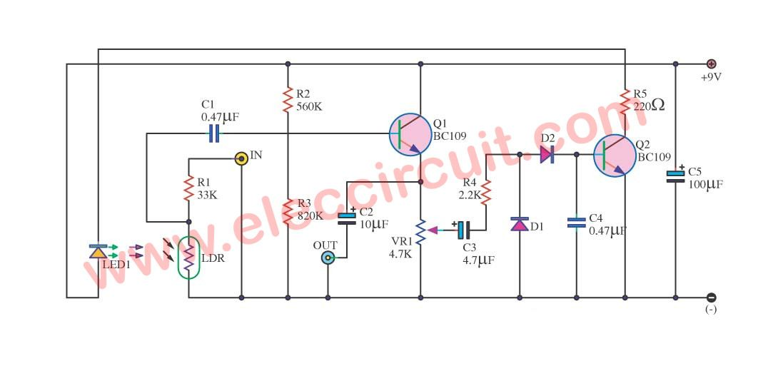 Control sound automatic circuit using BC109 | Controller circuits ...