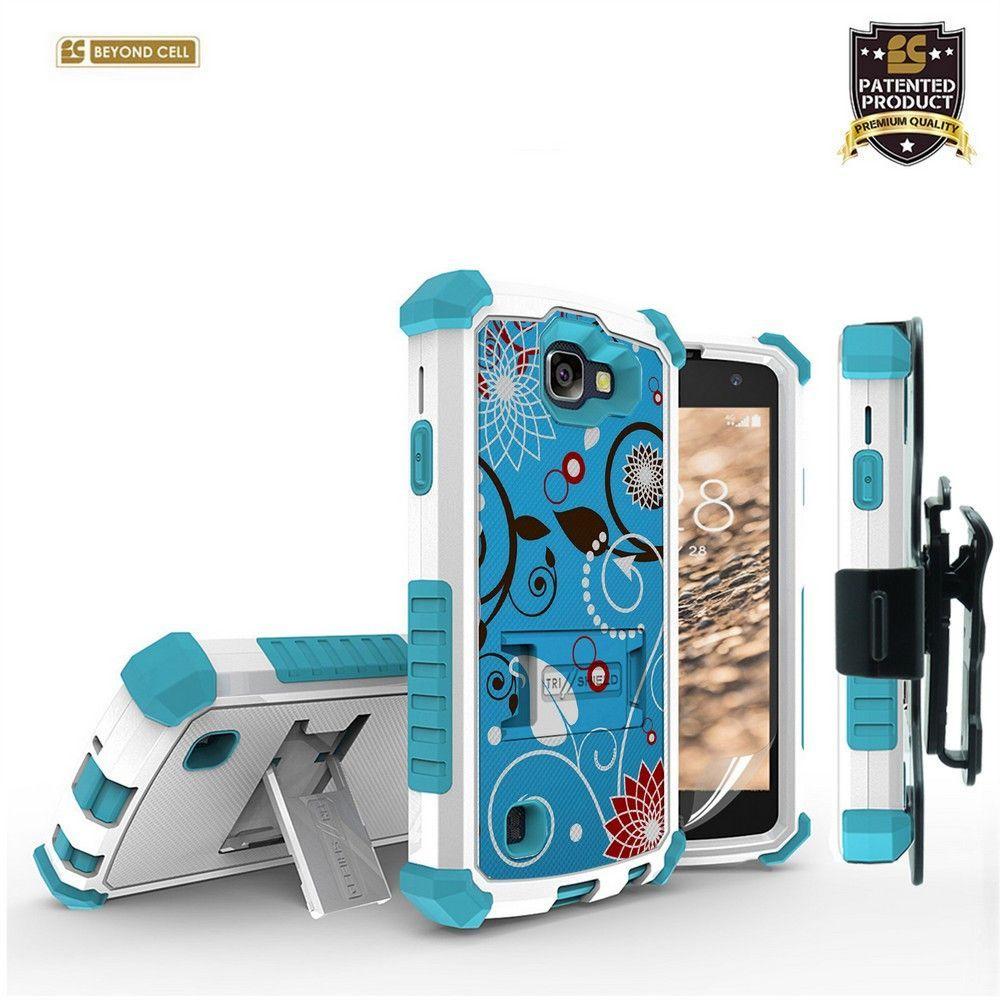 "Kombo ""Tri Shield"" For LG Zone 3 VS425/ Spree/ K4 White With Light Blue"