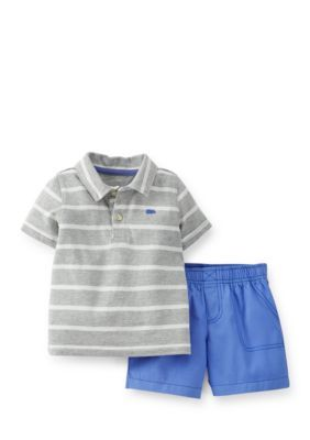 Carters  2-Piece Striped Polo and Shorts Set Toddler Boys
