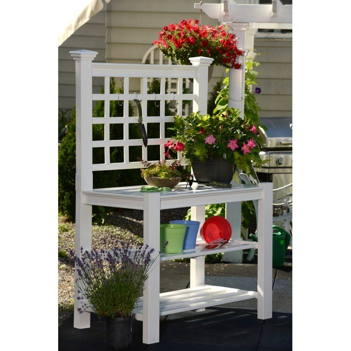 Greenfield Vinyl Potting Bench New England Arbors