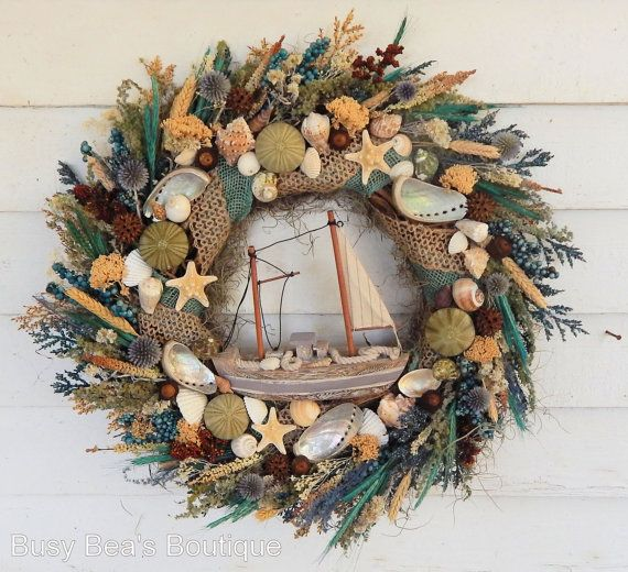 market wreath succulent doors home decor wreaths coastal etsy il summer door beach seashell