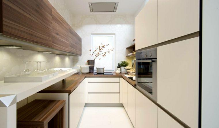 Cucina a U con ante di colore bianco lucente e top in legno e un ...