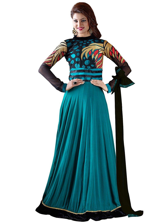 Orange Fab Women\'s Blue Georgette Anarkali Dress Material Fabric ...