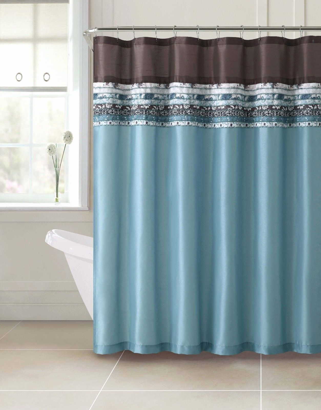Brown And Teal Bathroom Ideas Beautiful Poetica Faux Silk Aqua Blue Teal Brown Turquoise Fabric In 2020 Blue Shower Curtains Brown Shower Curtain Teal Shower Curtains
