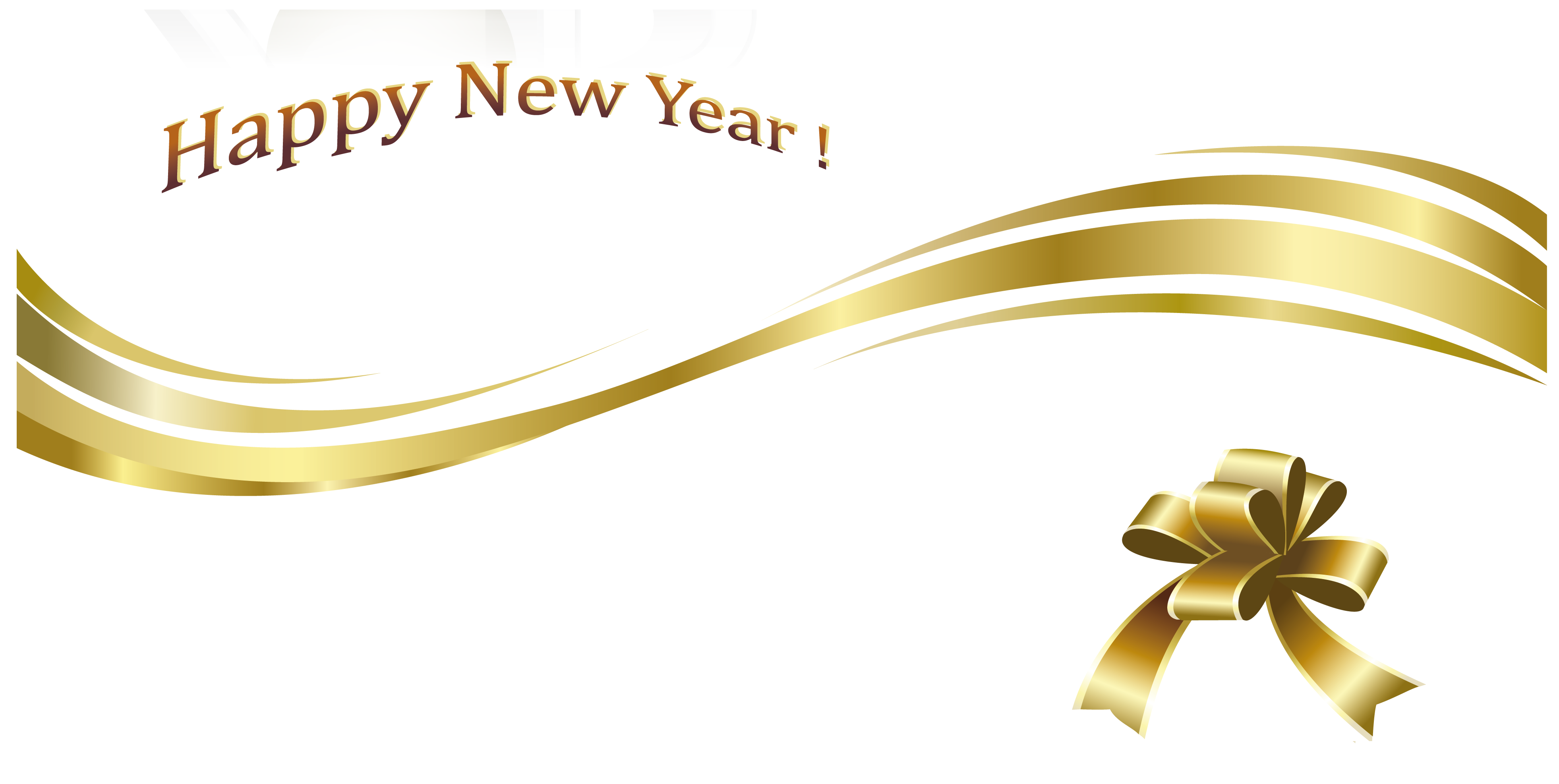 Happy New Year Gold Text And Decoration Gallery Yopriceville High Quality Images And Transparent Png Free Free Clip Art Happy Holidays Pictures Gold Text