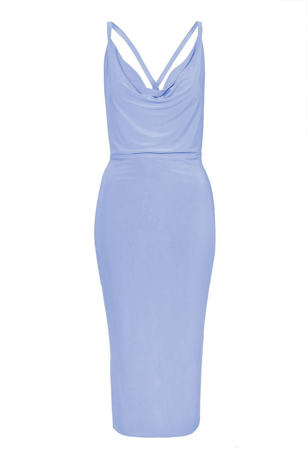 8f6f6f0a86 Womens powder blue cowl neck cross back slinky dress by rare from Topshop -  £35 at ClothingByColour.com