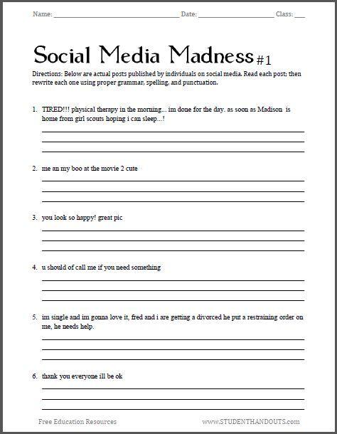 Social Media Madness Grammar Worksheet 1 Free Worksheet For High