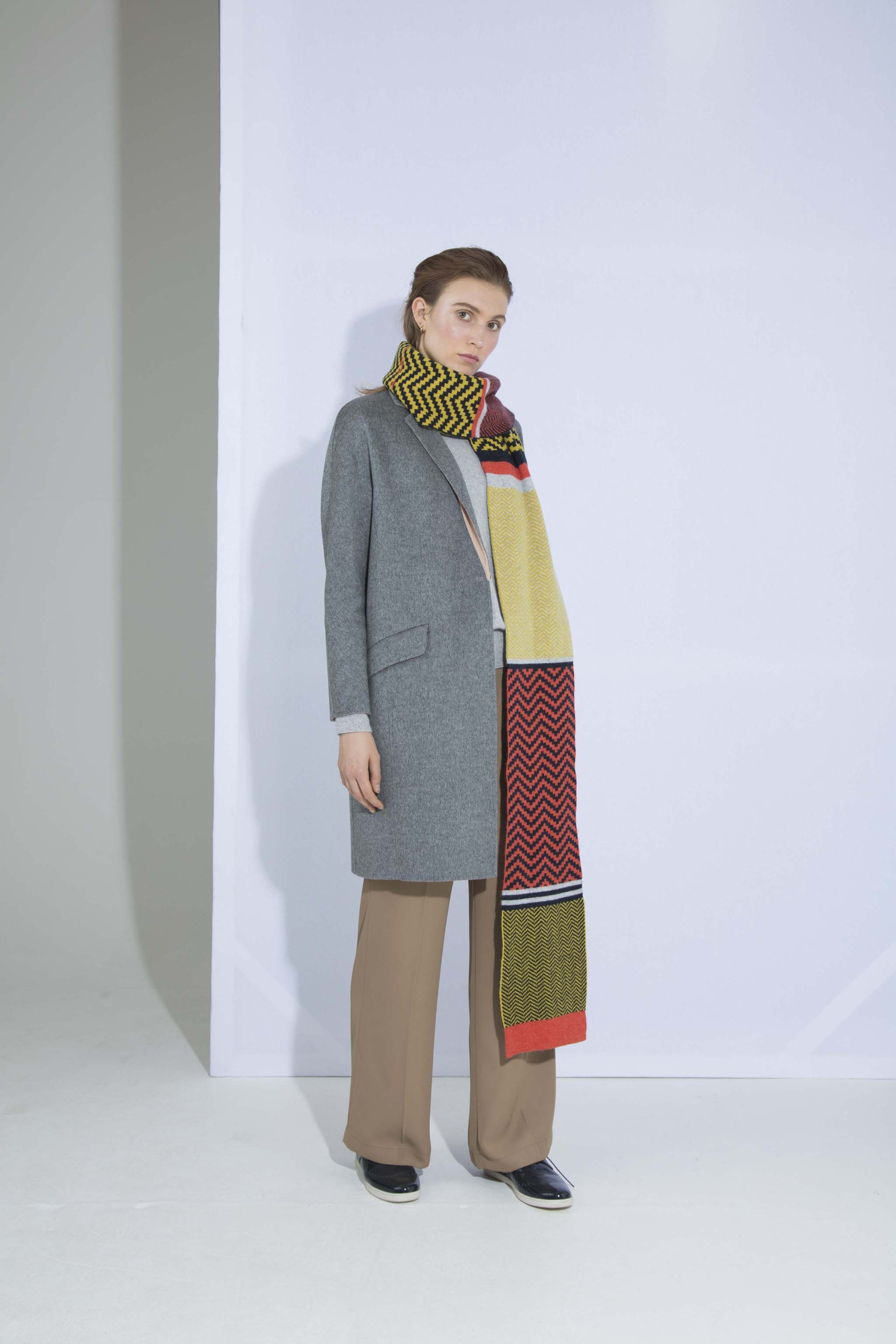 34ee90d1cc171 chevron colour block scarf made in scotland luxury accessories knit colour  color pattern