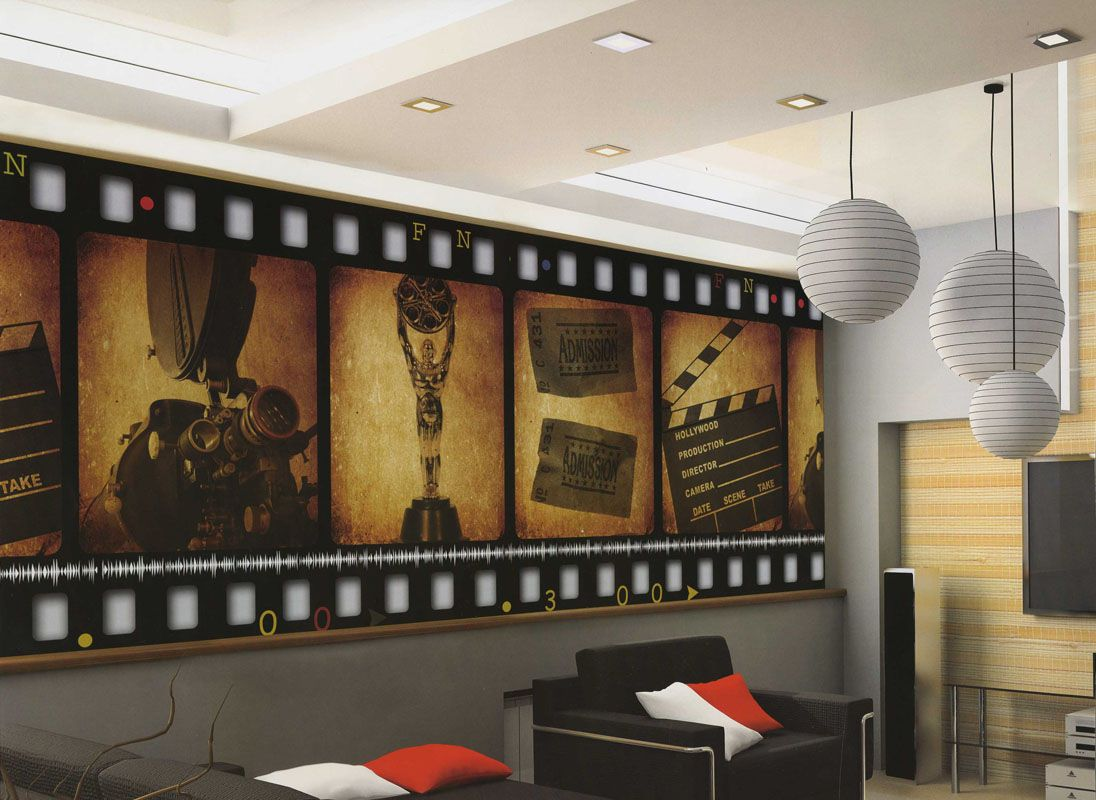 Home theater decor film filmstrip wallpaper wall mural for Home theatre decorations