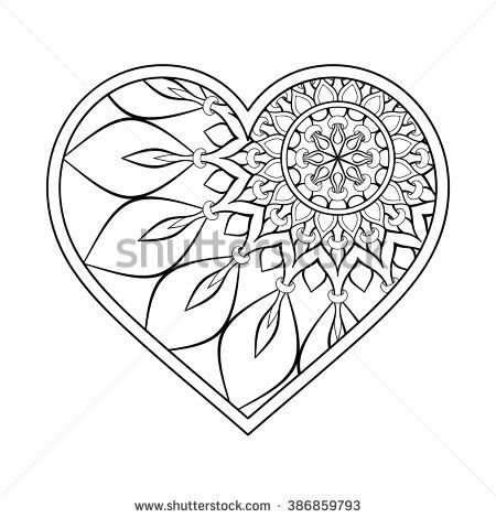 Heart with floral mandala vintage decorative elements oriental pattern vector illustration - Mandala de coeur ...