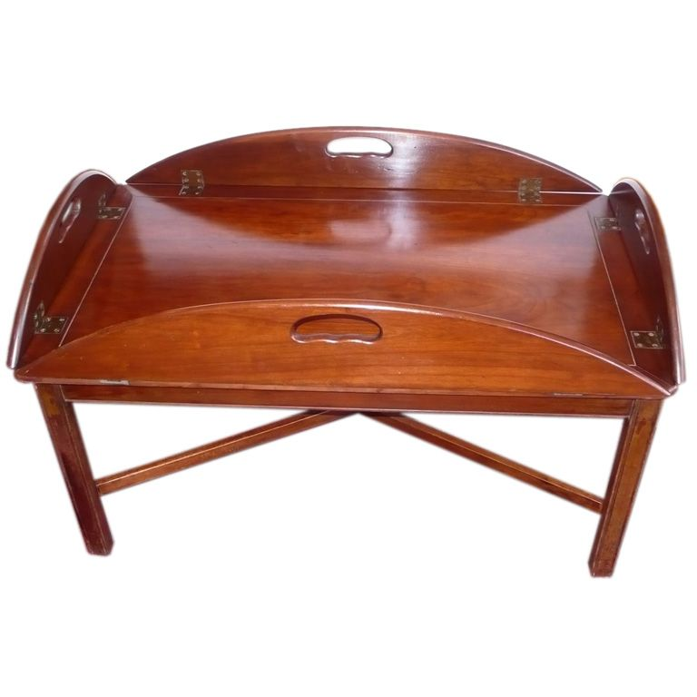 View This Item And Discover Similar Coffee And Cocktail Tables For Sale At    Solid Classic Butleru0027s Tray Table Coffee Table, Mahogany, Sturdy, Brass  Hinges