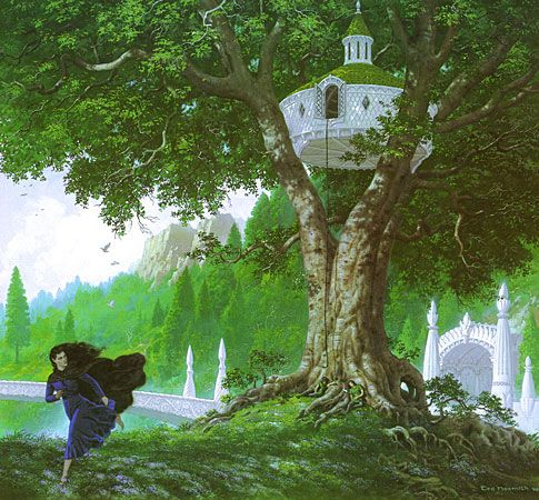 Lúthien Escapes the Treehouse, by ted nasmith