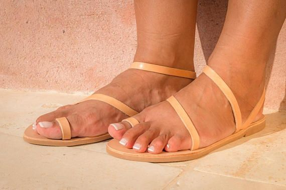 198dfee10af23 NISYRIA - Toe ring Leather Flat and Strappy Women's Sandals | Greek ...