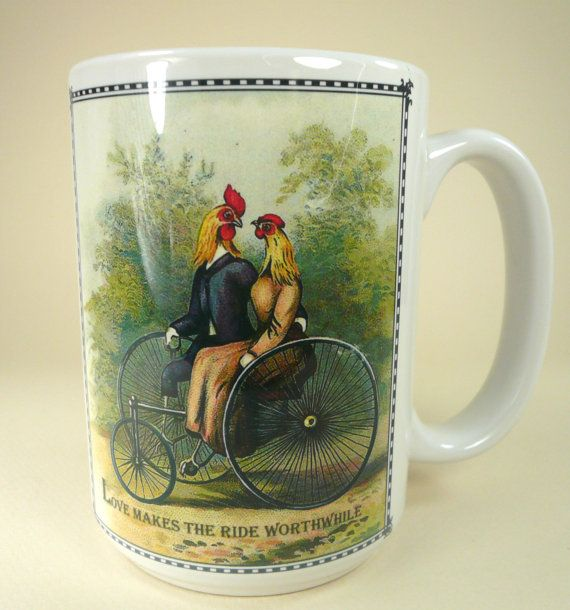 Chickens In Love On Bike 15 oz Mug by Cowbelles on Etsy, $14.00
