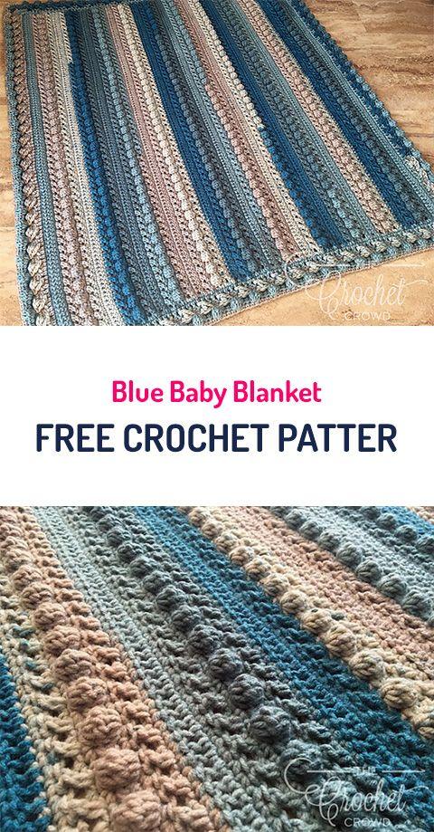 Blue Baby Blanket Free Crochet Pattern #crochet #yarn #home #crafts ...