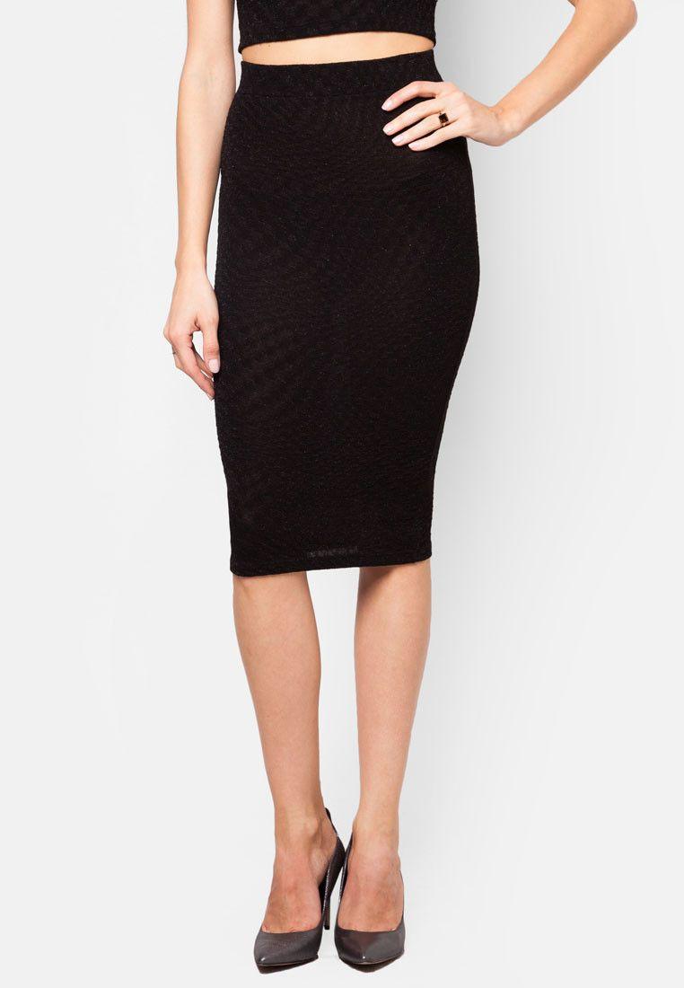 MISS SELFRIDGE Black Shimmer Pencil Skirt 閃亮半截裙
