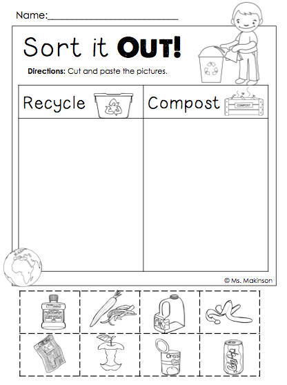 freebie earth day printables sort it out cut and paste compost and recycle. Black Bedroom Furniture Sets. Home Design Ideas