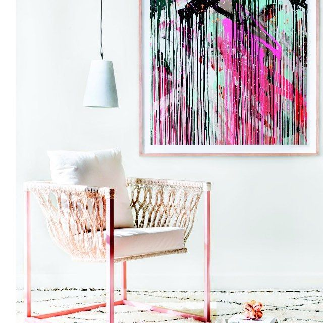 Always a picture of happiness is the colorful art of @rowenamartinich - avail on the GI store  X  Styling @ncinteriors for GI  Photography @jazblom  Thx for the loan of the gorgeous chair @globewest  #style #interiorstyle #interiorstyling #art #artinspo #melbourneartist #melbournemade #limitededitionprint by greenhouseinteriors