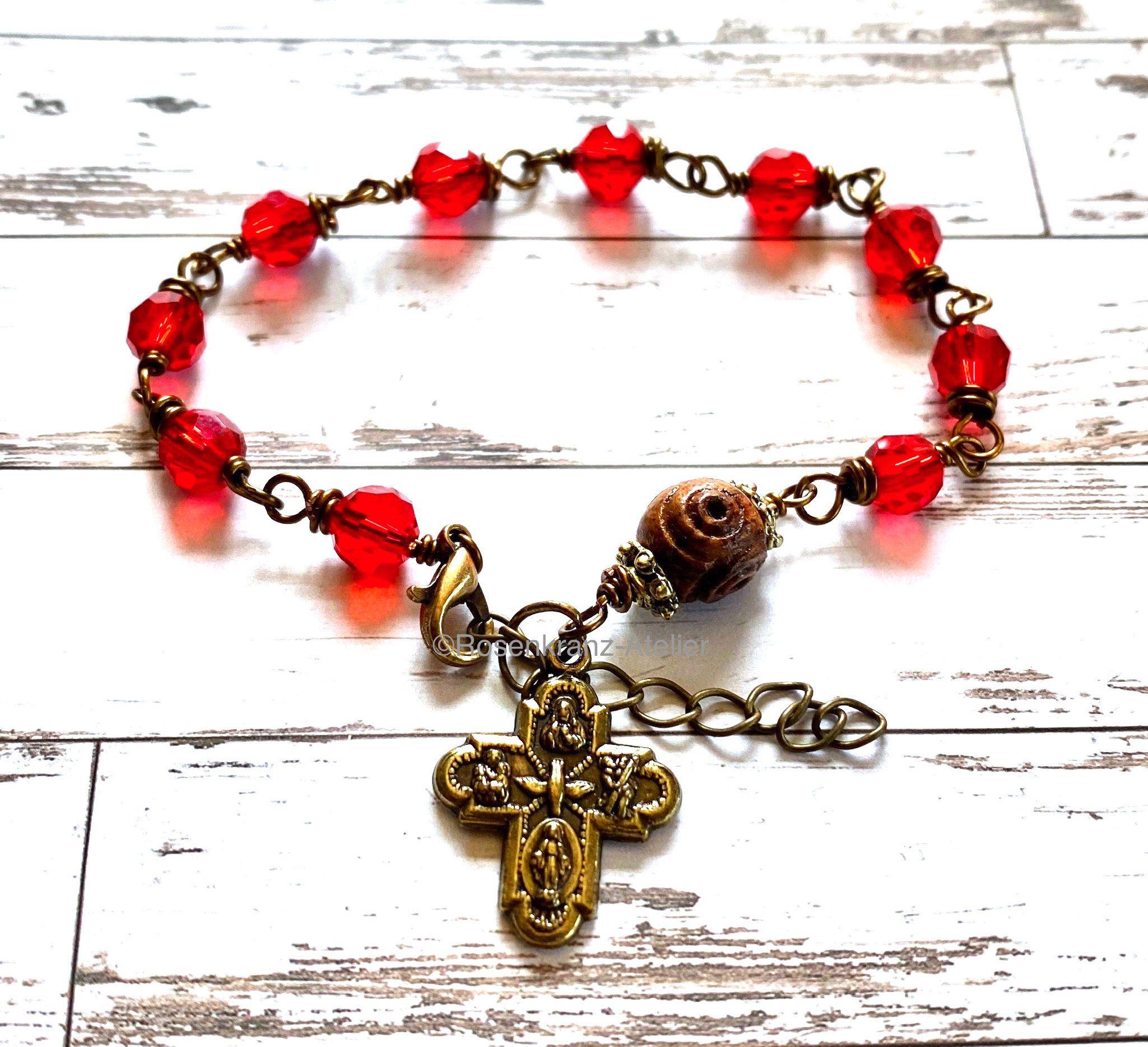 Rosary bracelet, catholic rosary, Fourway cross, protection medal, red crystal, catholic jewelry, single decade rosary, Rosenkranz-Atelier