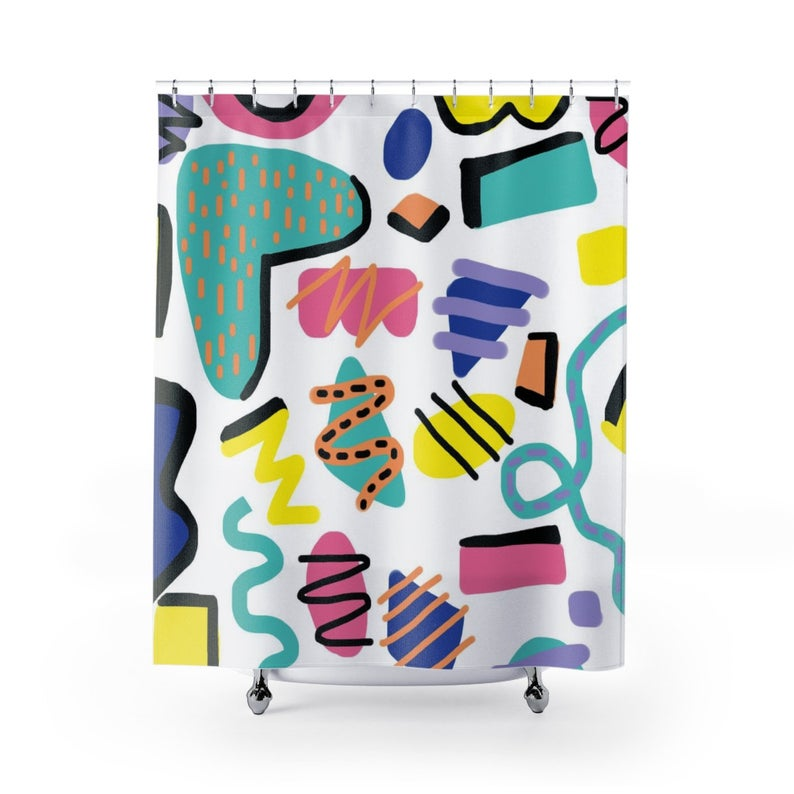 Retro Shower Curtain Bold Shapes Shower Curtain 90s Nick