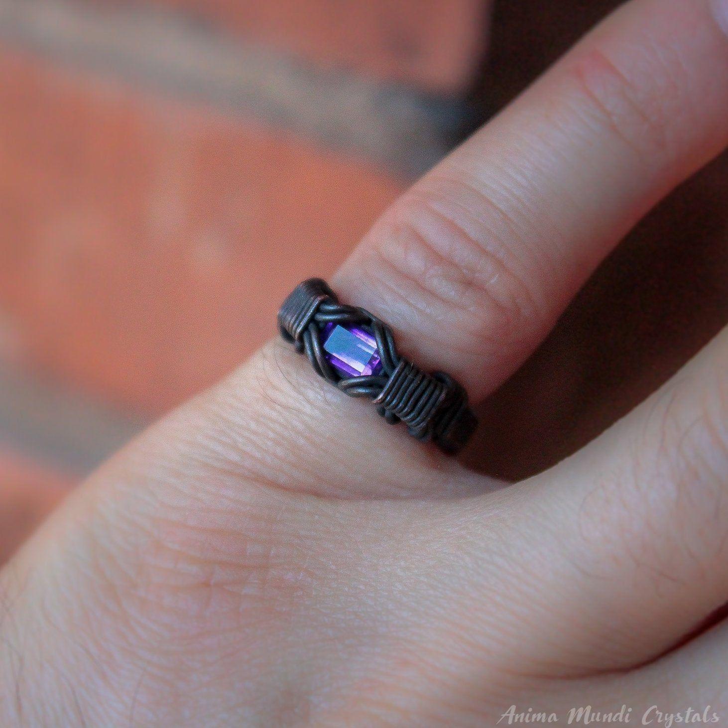 Mens Amethyst Ring Custom Size, Gifts for men Black ring