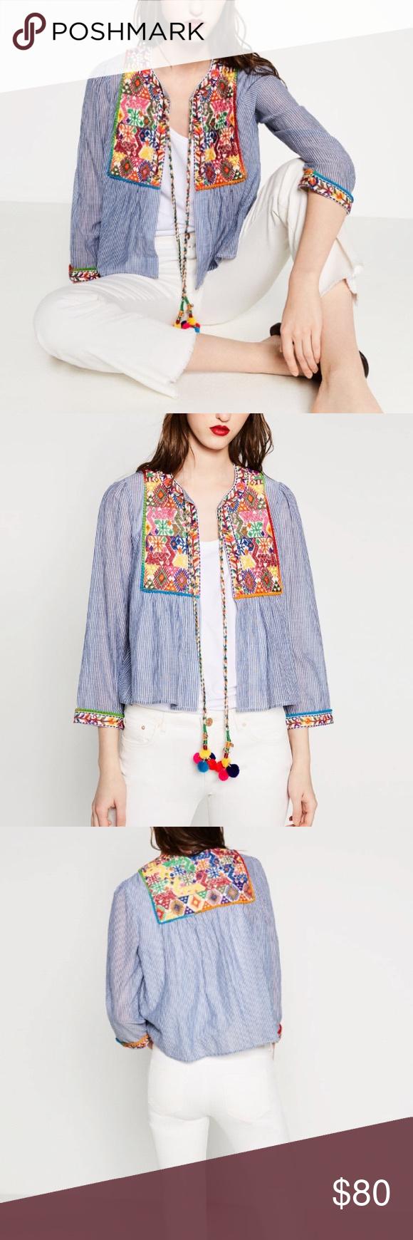 Zara Embroidered Jacket Gorgeous Detail Blue And White Cotton