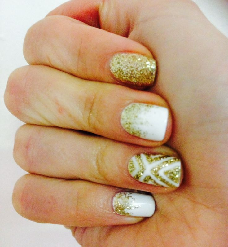 Found on google from pinterest nails pinterest white white and gold glitter nails prinsesfo Choice Image