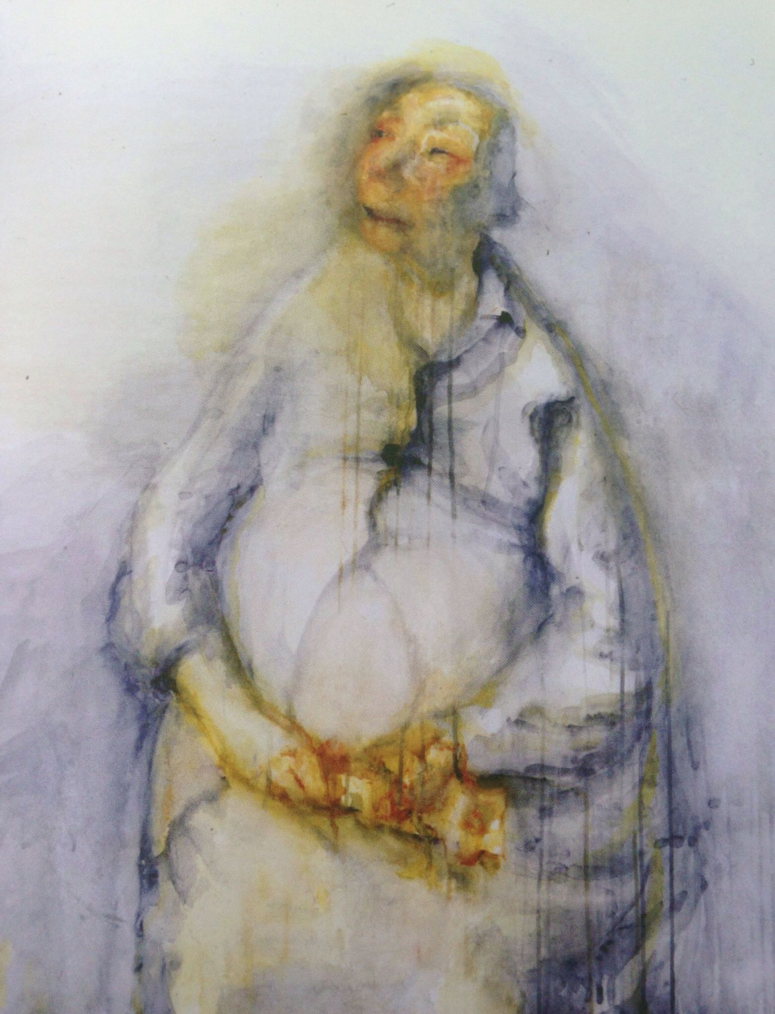 My Mother with Flowers, watercolour, 2004. 101x106cm. Celia Paul