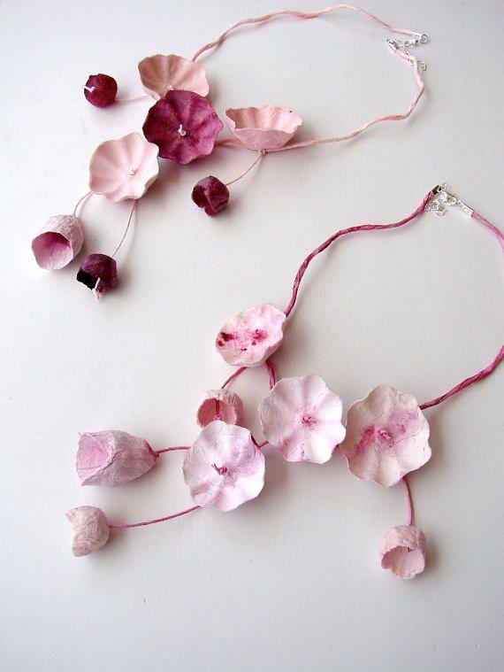Pink marsala paper flower necklace statement necklace cascade pink marsala paper flower necklace statement necklace mightylinksfo