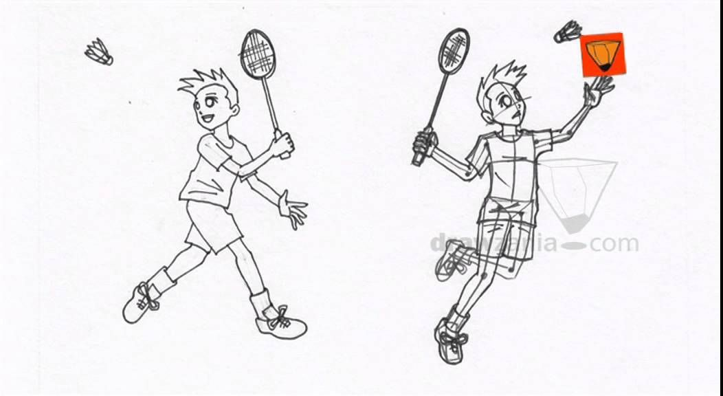 Anime Drawing Intermediate 55 Boy Playing Badminton