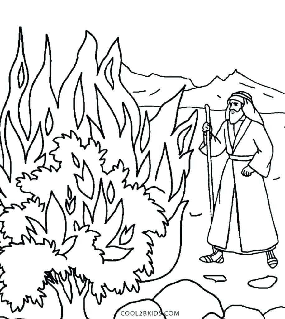 Moses And The Burning Bush Coloring Page Luxury Free Christian