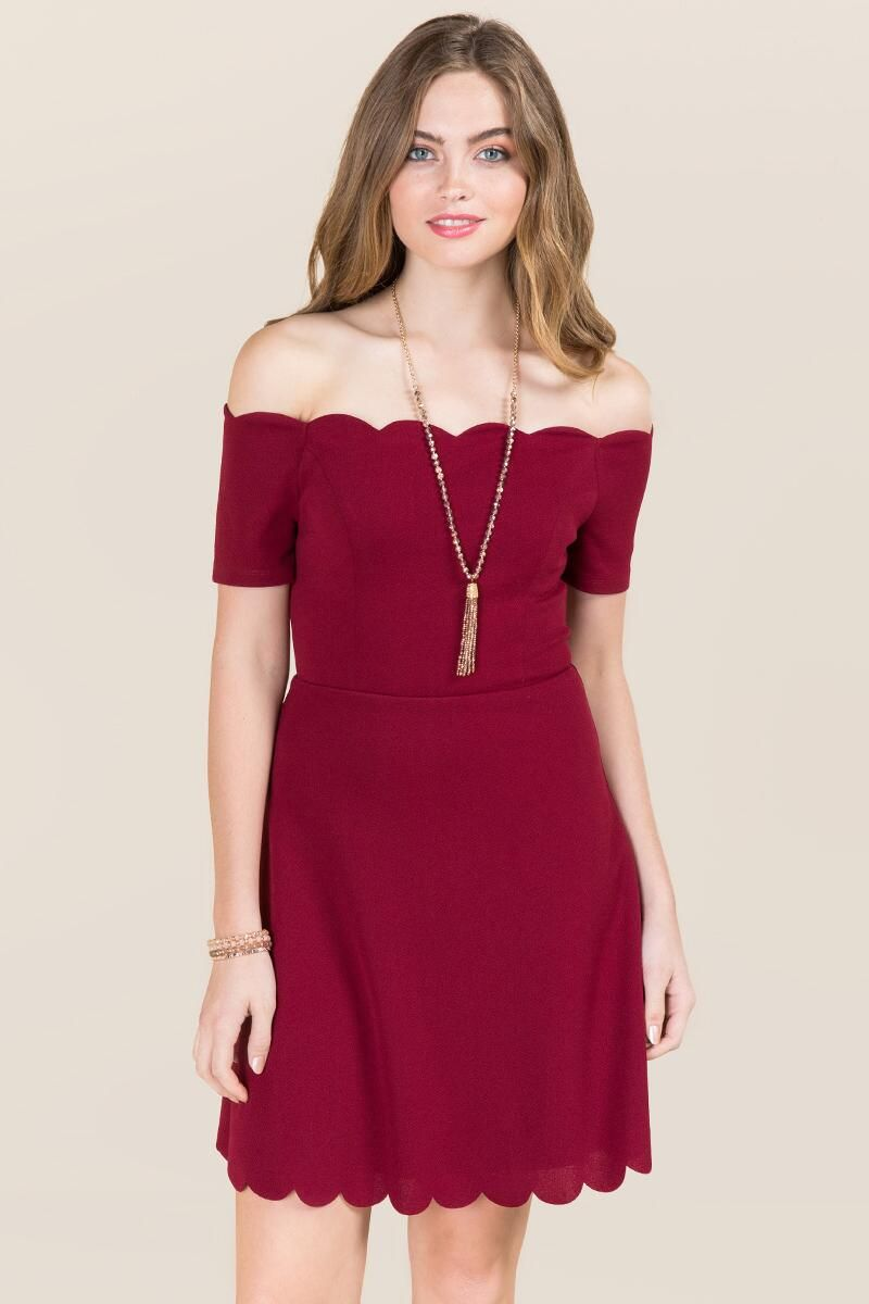 aab8275827 Killian Scallop Edge A-Line Dress