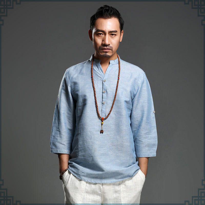 Light blue linen half sleeve chinese clothing tangzhuang for Mens light blue linen shirt