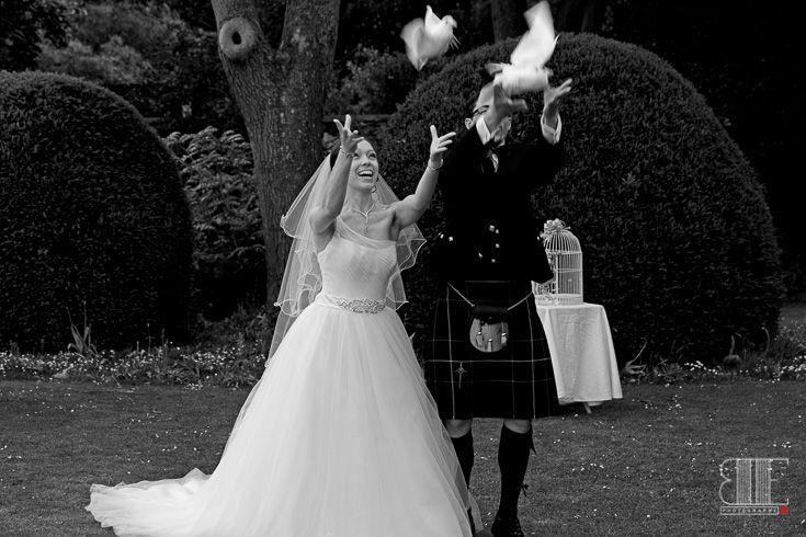 Doves and Love  #wedding #doves #birds #kilt #scottish #white #black #garden #flying #luck